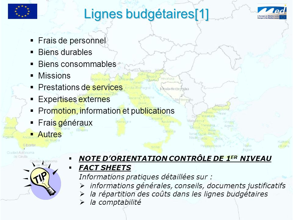 Lignes budgétaires[1] TIP Frais de personnel Biens durables